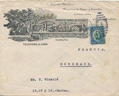 Lettre Illustrée Habana Cuba 5 Centavos Pour Bordeaux - Cuba