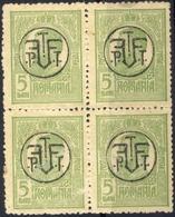 ROMANIA 1918 - 1919 Tipografiate PTT FF 5 BAN  Block 4 Used - 1918-1948 Ferdinand I., Charles II & Michel