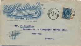 Lettre Winona Canada Five Cent Pour Bordeaux Cover - 1911-1935 Règne De George V