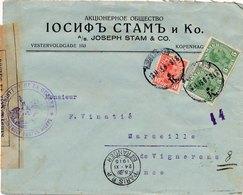 Lettre Censure De Dieppe 5,10 Ore Pour Bordeaux Cover Danemark - 1913-47 (Christian X)