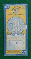 Carte Michelin France - Numéro 63 - Vannes - Angers - Année 1950 - Roadmaps