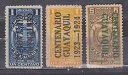 ECUADOR 1920-1923 GUAYAQUIL CENTENARY INDEPENDENCE 3 STAMPS 1 & 5 CENTS NOT LISTED MNH - Ecuador