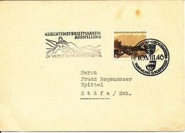 Liechtenstein Postcard Sent To Switzerland Special Postmark 10-8-1946 Stamp Exhibition Vaduz Single Franked - Liechtenstein