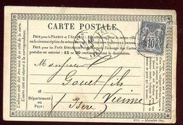 Carte Précurseur De Le Cateau Pour Vienne En 1878 - Entiers Postaux