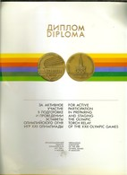 Diploma FOR ACTIVE PARTICIPATION IN PREPARING AND STAGING THE OLYMPIC TORCH RELAY OF THE XXII OLYMPIC GAMES MOSCOW 1980 - Other