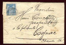 Lettre Avec Texte ( Scan Intérieur Sur Demande ) De Antibes Pour Cognac En 1884 - Postmark Collection (Covers)
