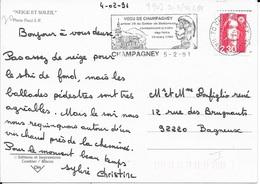 HAUTE SAONE 70  - CHAMPAGNEY -  FLAMME N° 9907  - VOIR DESCRIPTION  -  1991 -  ANNIVERSAIRE TRAITE DES NOIRS - Postmark Collection (Covers)