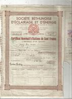 Certificat Bominatif D'actions De Cent , 100 Francs Libérées D'un Quart,sté Béthunoise D'éclairage Et.., Frais Fr 1.85 E - Actions & Titres