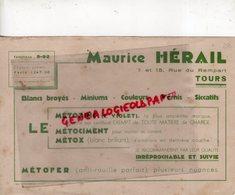 37 - TOURS - BUVARD MAURICE HERAIL- LE METOZINC- VIOLET- METOFER- VERNIS-ANTI ROUILLE- 7 RUE DU REMPART- RARE - Banque & Assurance