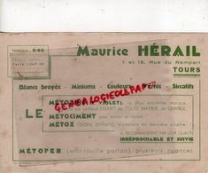 37 - TOURS - BUVARD MAURICE HERAIL- LE METOZINC- VIOLET- METOFER- VERNIS-ANTI ROUILLE- 7 RUE DU REMPART- RARE - Bank En Verzekering