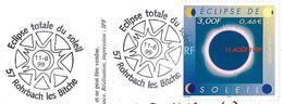 France (1999) Rohrbach-les- Bitche (57) : Eclipse Totale Du Soleil Par Lune / Total Eclipse Of The Sun By The Moon. FDC. - Astronomie
