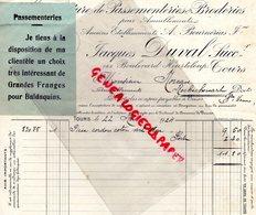 37 - TOURS - FACTURE JACQUES DUVAL -A. BOURNERIAS- MANUFACTURE PASSEMENTERIES BRODERIES- BRODERIE-BD HEURTELOUP 1924 - Petits Métiers