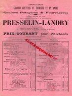 37 - BOURGUEIL - CATALOGUE TARIF PRESSELIN-LANDRY- GELLUSSEAU- 1903-1904-GRAINES POTAGERES HORTICULTURE-HORTICULTEUR - Agriculture