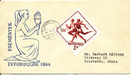 Hungary FDC 20-10-1964 Hungarian & Swedish Athletic Meet With Cachet Sent To Denmark - FDC