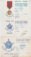 1972-1973-1974 Cartes Les Amis De L'Ordre Républicain Du Mérite Civique Et Militaire Jean Coderc - Documents Historiques