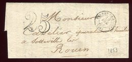 Lettre Avec Texte ( Scan Intérieur Sur Demande ) De Bernay Pour Rouen En 1853 - Storia Postale