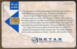 Telefoonkaart. Setar. 9350216. Aruba 500. - 1499 - 1999. Tradition With Vision. 30 Units. Afl,7.50 - Aruba