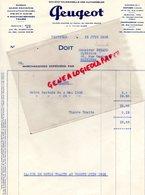 37 - TOURS - FACTURE PEUGEOT GARAGE - 15 BD BERANGER- SUCCURSALES POITIERS -CHATEAUROUX- 1938 - Cars
