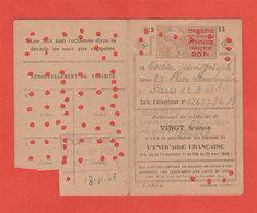 1946 Carte Tabac Gouvernement Provisoire Coderc Timbre Erinnophilie Contribution Aux Dépenses De L'Entraide Française 20 - Erinnophilie