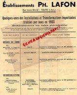 37 - TOURS - ETS. PH. LAFON- INSTALLATION  MINOTERIE- MINOTIER- 1933- M. MOULINS NOGENT LE ROI-AUPY GOUDEVILLE- - Petits Métiers