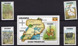 1988 - UGANDA -  Mi. Nr. 617-621+BL 85 - NH - (UP121.9) - Uganda (1962-...)