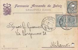 """08256 """"LECCE-GALLIPOLI - FARMACIA ARMANDO DE BELVIS""""  CART COMM SPED 1920 - Italy"""