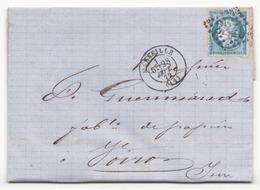Enveloppe Du 28 Septembre 1872 Grand Chiffre 2240 De Marseille Pour Voiron - 1871-1875 Cérès