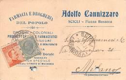 """08257 """"RAGUSA-SCICLI - FARMACIA E DROGHERIA DEL POPOLO - ADOLFO CANNIZZARO""""  CART COMM SPED 1921 - Italy"""