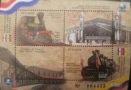 RO) 2018 ECUADOR, JOINT ISSUE WITH PARAGUAY -STEAM LOCOMOTIVE TIPE BALDWIN -TRAIN STATION, SHEET MNH - Ecuador