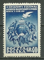 POLAND MNH ** 615 FESTIVAL MONDIAL DE LA JEUNESSE à BERLIN, Colombe De La Paix, Oiseau, Bird - 1944-.... Republic