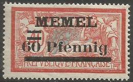 Memel (Klaipeda) - 1921 Merson Overprint 60pf/40c MH *   Mi 36  Sc 40 - Unused Stamps