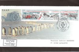 E34 - TAAF PO 223/225 Se Tenant 28 FEVRIER 1997 Cachet Premier Jour TERRE ADELIE - 50ème Anniversaire Des EPF. - Terres Australes Et Antarctiques Françaises (TAAF)