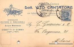 """08258 """"FOGGIA-CERIGNOLA - FARMACIA CHIMICA DOTT. VITO CANTATORE""""  CART COMM SPED 1921 - Italy"""