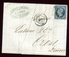 Lettre Avec Texte Commerciale ( Scan Intérieur Sur Demande ) De Lyon Pour Crest En 1857 - Storia Postale