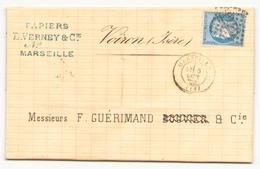 Enveloppe Du 3 Septembre 1872 De Marseille Pour Voiron - 1871-1875 Cérès