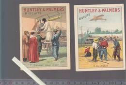 """Chromo XIXè - Lot De 2 - Biscuits - Huntley & Palmers - Un Match : Avion-train, Aviation """"dernier Coup D'oeil"""" - Confectionery & Biscuits"""