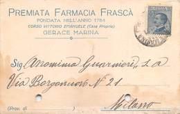 "08260 ""REGGIO CALABRIA-GERACE MARINA - PREMIATA FARMACIA FRASCA' FONDATA 1784""  CART COMM SPED 1921 - Italy"
