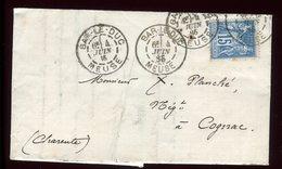 Lettre Avec Texte ( Scan Intérieur Sur Demande ) De Bar Le Duc Pour Cognac En 1885 - Marcophilie (Lettres)