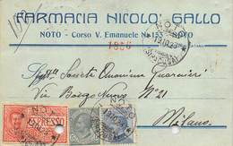 "08261 ""SIRACUSA-NOTO - FARMACIA NICOLO' GALLO""  CART COMM SPED 1923 - Italy"