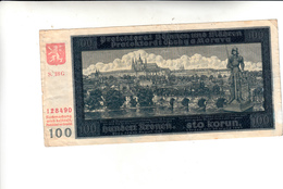 Cecoslovacchia,Banconota 100 Korun 1940 - Tchécoslovaquie