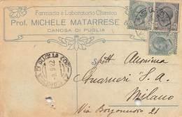 """08262 """"BARLETTA-CANOSA DI PUGLIA - FARMACIA E LAB. CHIMICO PROF. MICHELE MATARRESE""""  CART COMM SPED 1922 - Italy"""