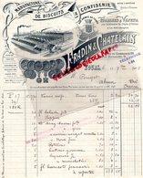 37 - TOURS- FACTURE FRADIN & CHATELAIN- MANUFACTURE BISCUITS CONFISERIE-28 RUE DU COMMERCE- AUX ARMES DE TOURS-1909 - Alimentaire