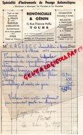 37- TOURS - FACTURE RENONCIALE & GENIN- INSTRUMENTS DE PESAGE AUTOMATIQUE-BASCULE BALANCE ROMAINE-1951 - Petits Métiers