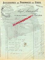 37- TOURS - FACTURE PAUL AMSELLE- ACCESSOIRES PHARMACIE- FABRIQUE BANDAGES-PHARMACIEN-68 RUE DE LA SELLERIE- 1923- - Petits Métiers