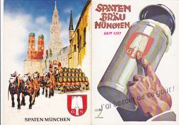 Lot  De 2 Cp-publicité-biere Spaten Brau Munich - Publicité