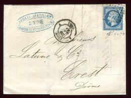 Lettre Avec Texte  ( Scan Intérieur Sur Demande) De Lyon Pour Crest  En 1861 - 1877-1920: Période Semi Moderne