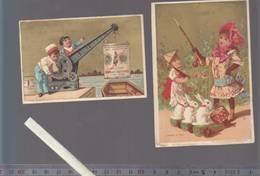 Chromo XIXè - Lot De 2 Vallet & Monot - Jeux D'enfants - Lapins Tambour, Grues Cie Anglo-suisse - Trade Cards