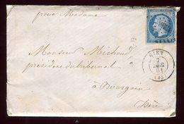 Enveloppe De Gien Avec Correspondance Pour Bougoin En 1861 - Poststempel (Briefe)