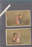 Chromo XIXè - Lot De 2 - Hutinet - L'ombrelle Qui Part à L'eau - A La Ville De Saint Denis - Trade Cards