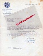 37- TOURS - LETTRE HOTEL DE L' UNIVERS-RESTAURANT LA TOURAINE- SIGNEE ROGER DUTRON DIRECTEUR-1956 - Old Professions